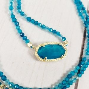 Kendra Scott Elisa Beaded Necklace Teal Agate